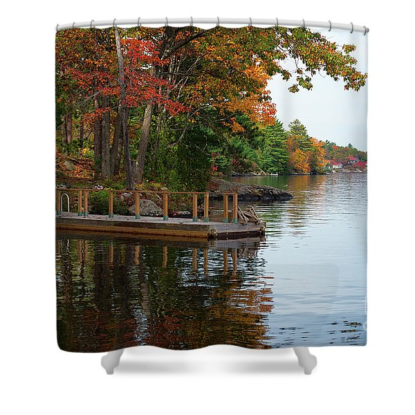 Dock On Lake In Fall Shower Curtain