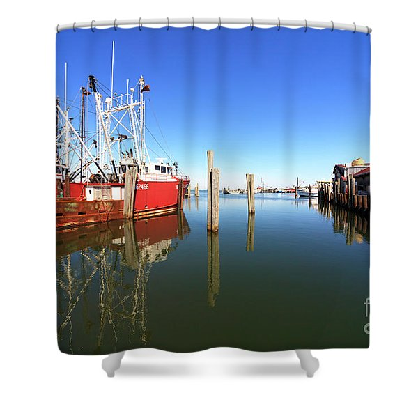 Dock Reflections On Long Beach Island Shower Curtain