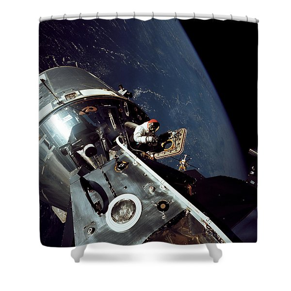 Docked Apollo 9 Command And Service Shower Curtain by Stocktrek Images
