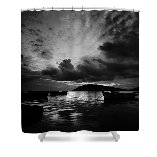 Docked At Dusk Shower Curtain