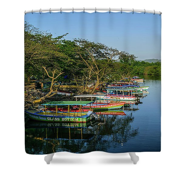 Boats By The River Shower Curtain