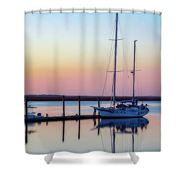 Docked On Jekyll Island Shower Curtain