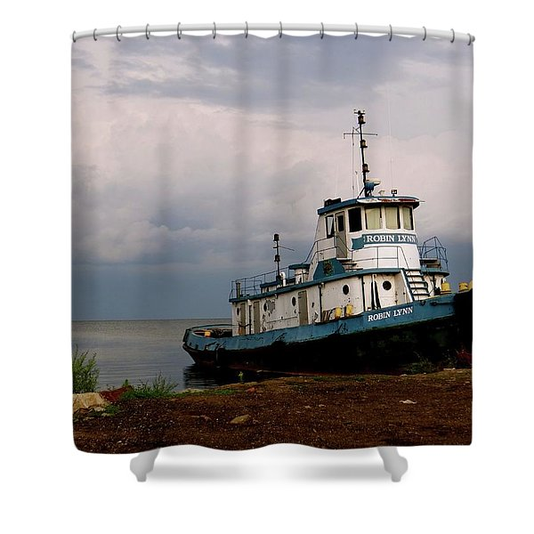 Docked On The Shore Shower Curtain