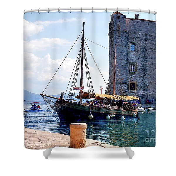 Docking In Dubrovnik Harbour Shower Curtain