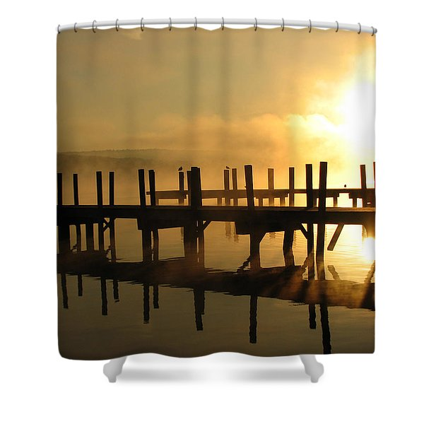 Docks-fire In The Sky Shower Curtain