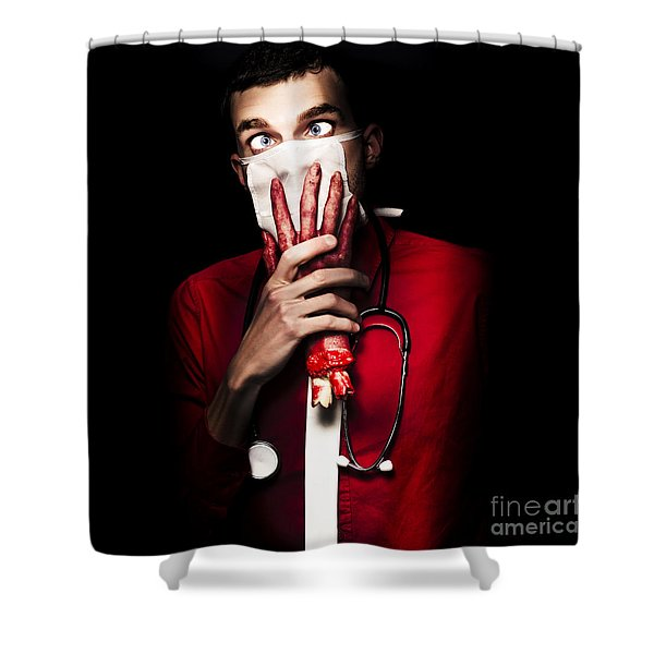 Doctor Death Being Chocked By Amputated Hand Shower Curtain