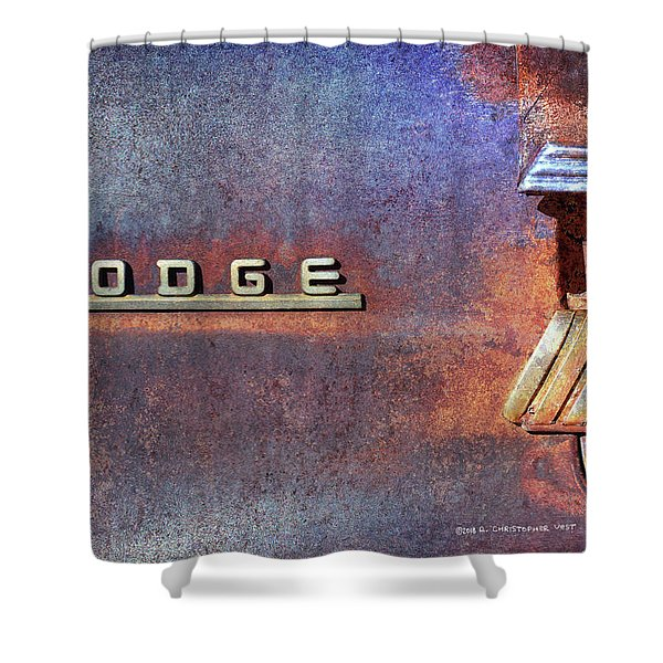 Dodge Brand Badge On Old Car Shower Curtain