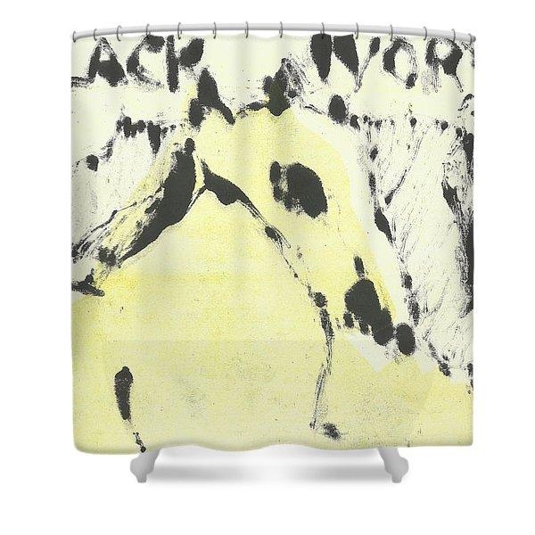 Dog At The Beach - Black Ivory 1 Shower Curtain