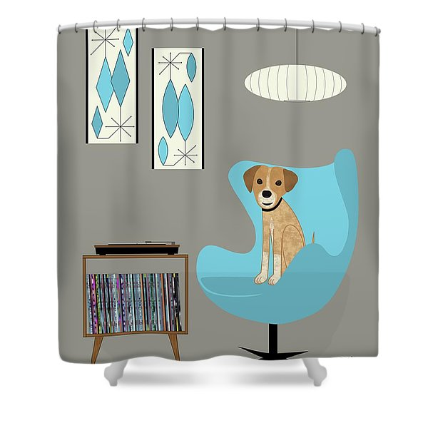 Dog In Egg Chair Shower Curtain