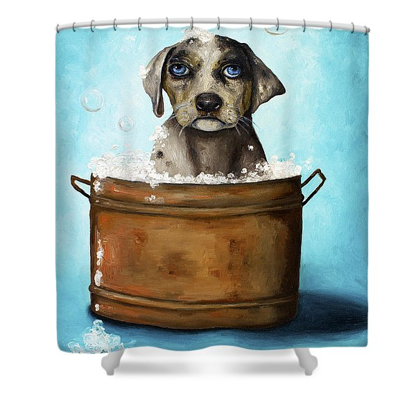Dog N Suds Shower Curtain by Leah Saulnier The Painting Maniac
