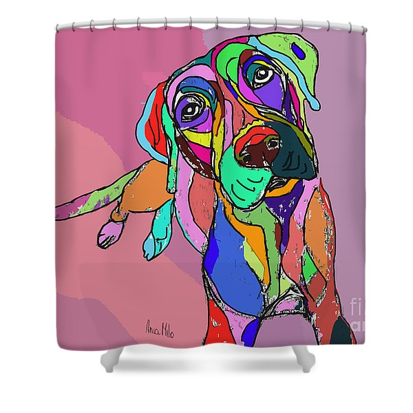 Dog Sketch Psychedelic  01 Shower Curtain