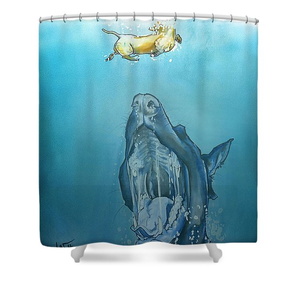 Dog-themed Jaws Caricature Art Print Shower Curtain