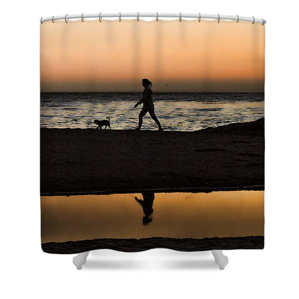 Dog Walker At Sunset Shower Curtain