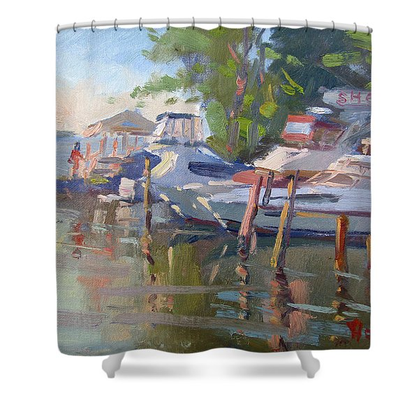 Docks At The Shores  Shower Curtain