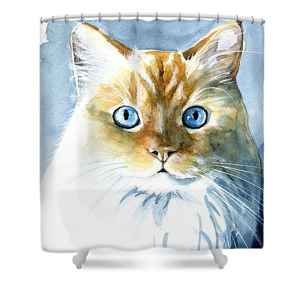 Doll Face Flame Point Himalayan Cat Painting Shower Curtain