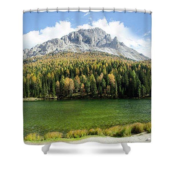 Dolomite Mountain Lake Panaorama Shower Curtain