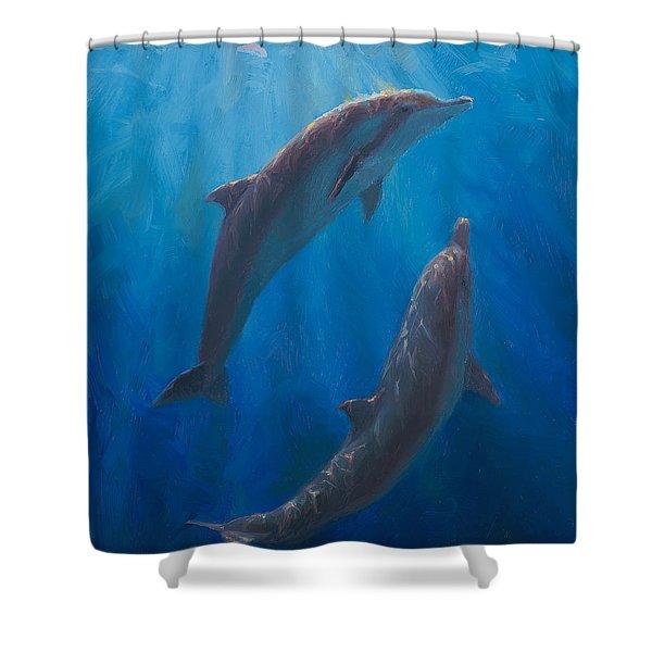 Dolphin Dance - Underwater Whales - Ocean Art - Coastal Decor Shower Curtain