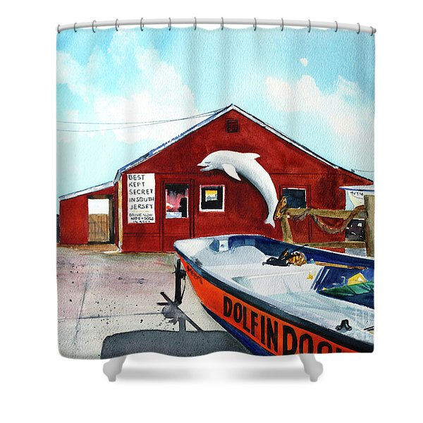 Dolphin Dock II Shower Curtain