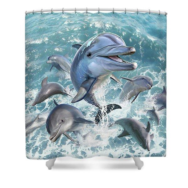 Dolphin Jump Shower Curtain