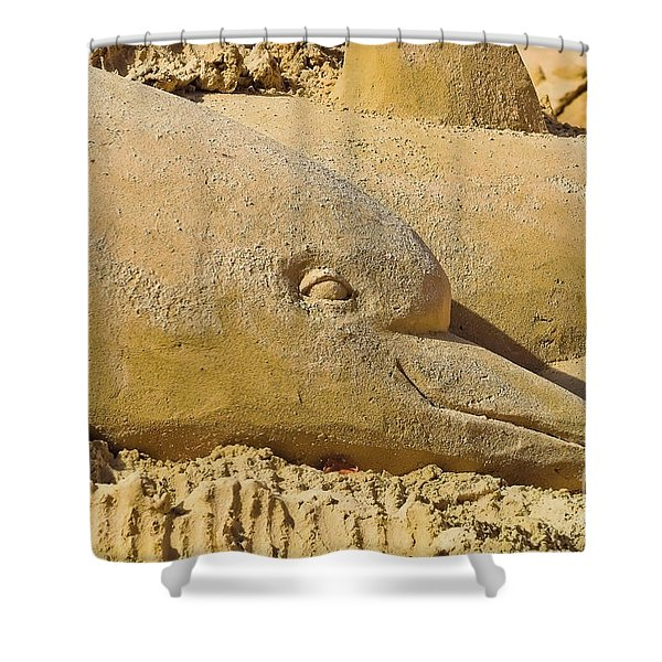 Shower Curtain featuring the photograph Dolphin Sand Castle Sculpture On The Beach 799 by Ricardos Creations
