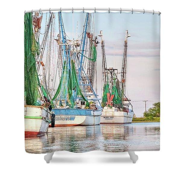 Dolphin Tail - Docked Shrimp Boats Shower Curtain