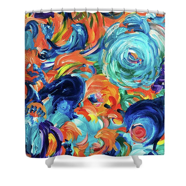 Dolphins Playing In Peonies Shower Curtain