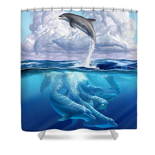 Dolphonic Symphony Shower Curtain