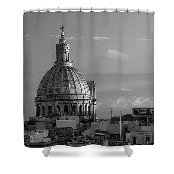 Dome Of Our Lady Of Mount Carmel In Valletta, Malta Shower Curtain