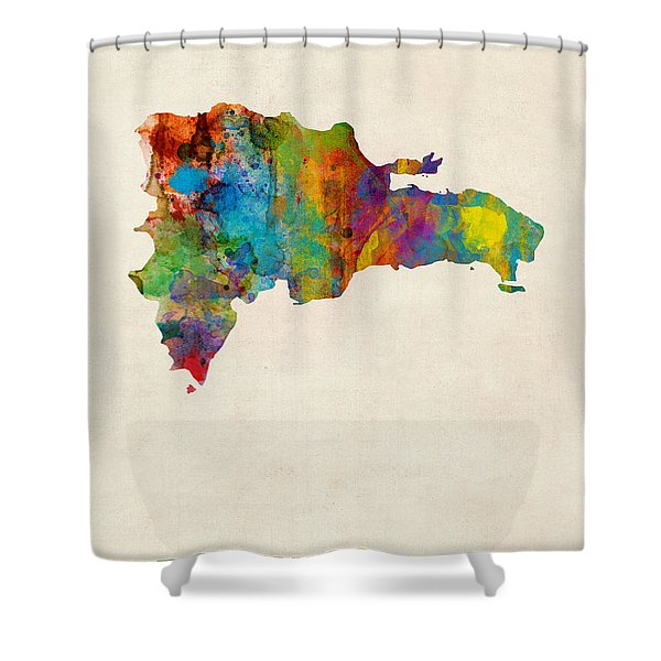 Dominican Republic Watercolor Map Shower Curtain