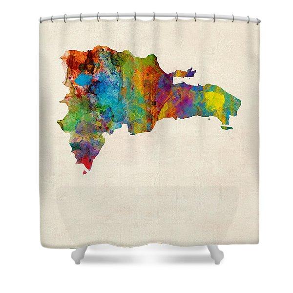 Dominican Republic Watercolor Map Shower Curtain
