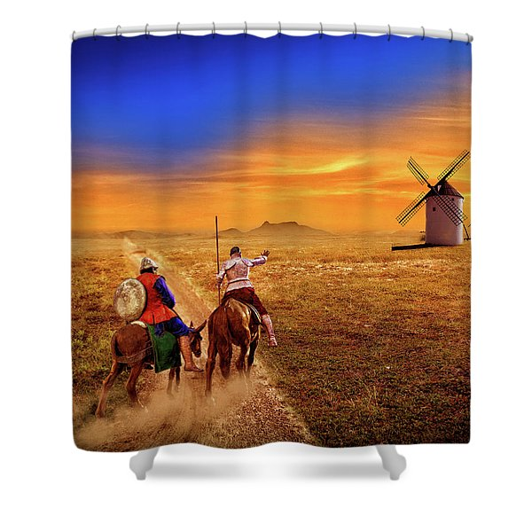 Don Quixote And The Windmills Shower Curtain