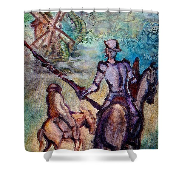 Don Quixote With Dragon Shower Curtain