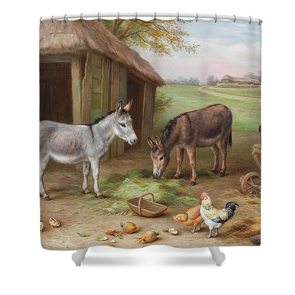 Donkeys And Chickens In A Farmyard Shower Curtain