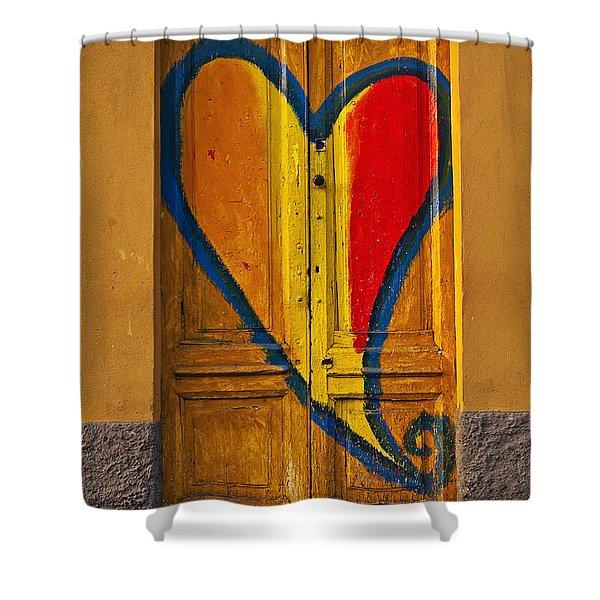 Door With Heart Shower Curtain