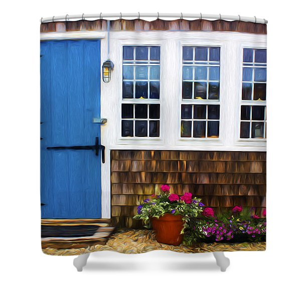Blue Door - Doors And Windows Series 01 Shower Curtain