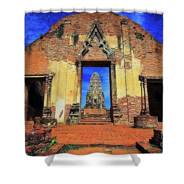 Doorway To Wat Ratburana In Ayutthaya, Thailand Shower Curtain