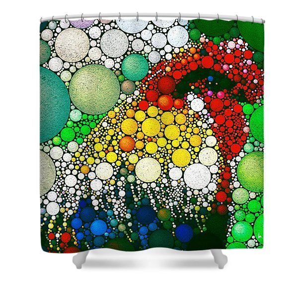Shower Curtain featuring the digital art Dotty Doodle Doo by Mark Taylor