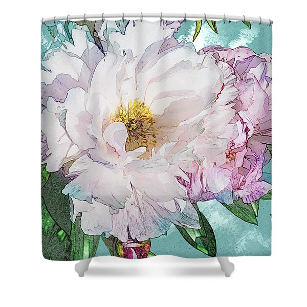 Double Peony Shower Curtain