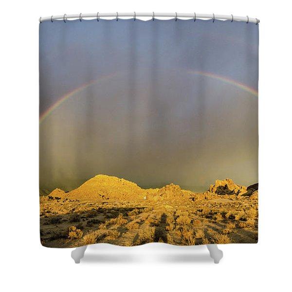 Double Rainbow Gold Shower Curtain