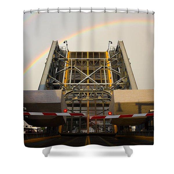Double Rainbow Mystic Drawbridge Shower Curtain