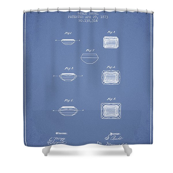 Doublet Stone Patent From 1873 - Light Blue Shower Curtain
