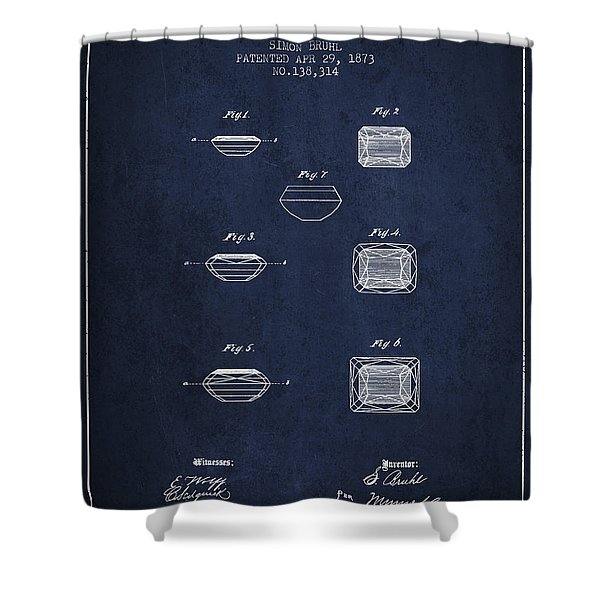 Doublet Stone Patent From 1873 - Navy Blue Shower Curtain