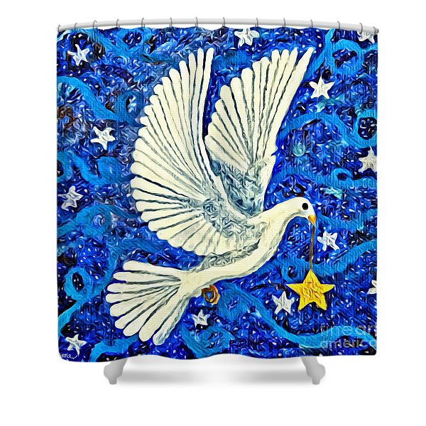 Dove With Star Shower Curtain