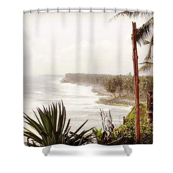 Down At The Beach In Kerala - Just A Shower Curtain