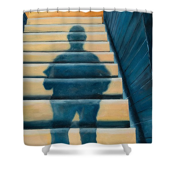 Shower Curtain featuring the painting Downstairs by Break The Silhouette
