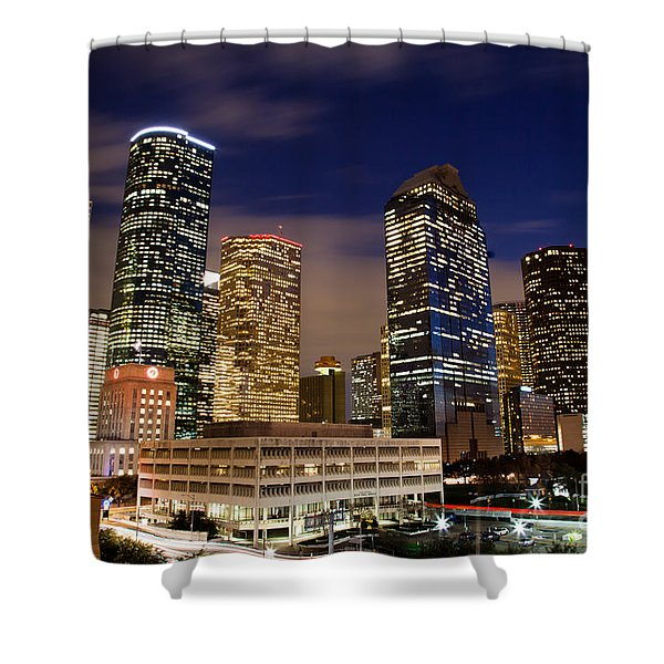 Downtown Houston At Night Shower Curtain