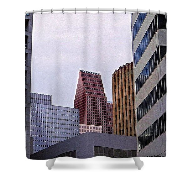 #downtown #houston On A Gloomy Cold Shower Curtain