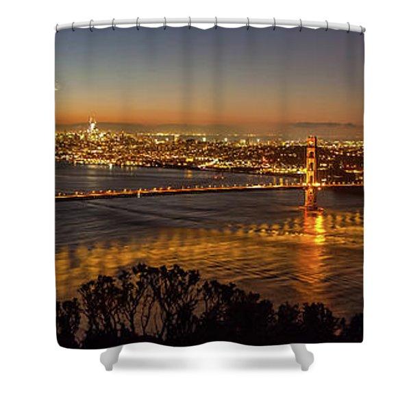 Downtown San Francisco And Golden Gate Bridge Just Before Sunris Shower Curtain