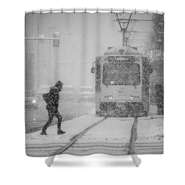 Downtown Snow Storm Shower Curtain