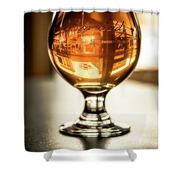 Downtown Waukesha Through A Glass Of Beer At Bernie's Taproom Shower Curtain